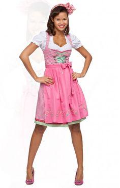 Midi Dirndl 3tlg. Jasmin pink 60 cm karo