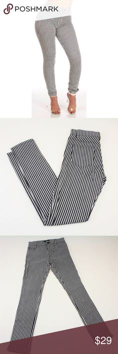 "High Waisted Charcoal & White Striped Pants These adorable pants would pair well with any solid, floral, or fun pattern! With a flattering high waist style and skinny jean fit, these pants are sure to wow. They come in juniors sizing, so please refer to the size chart for measurements before purchase. The inseam measures about 29"". #10WJDK Pants Skinny"