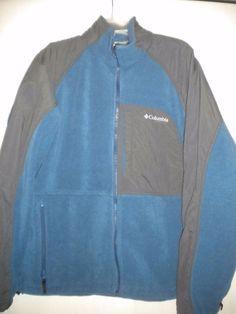 Columbia Size Large Blue Charcoal Core Vertex Interchange Mens Fleece Jacket #Columbia #FleeceJacket