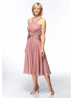 A-line Halter Tea-length Gasa Mother of the Bride Dresses