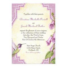Foxglove Hummingbird - Wedding Invitation