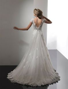 Bridal Gowns: Sottero & Midgley A-Line Wedding Dress with Sweetheart Neckline and No Waist/Princess Seams Waistline