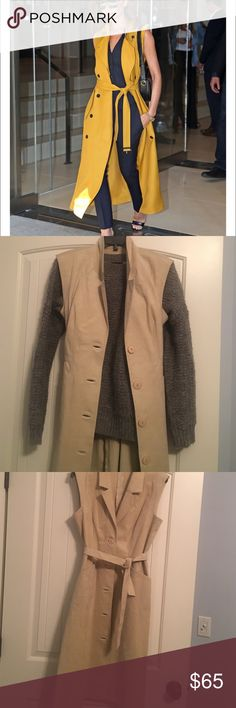 Vintage sleeveless trench Amazing piece from the 1960s can be worn open with sweater and trousers or closed and with pumps!! This piece can do so much and with amazing tailoring!! First pic style inspiration not item not brand listed. 🙂 Zara Jackets & Coats Trench Coats