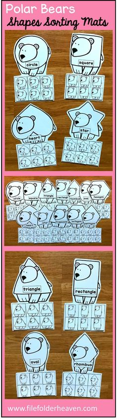 These Polar Bear Shapes Sorting Mats include 12 unique sorting mats that focus on sorting penguins by shapes.  In a center or independent work station, students sort polar bear shapes into the polar bear mat that is the same shape.  Shape mats included are:  circle square triangle rectangle oval heart star rhombus trapezoid pentagon hexagon octagon