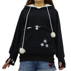 Cat Lovers Hoodies With Cuddle Pouch For Casual Kangaroo Pullovers With Ears Sweatshirt