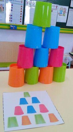 Treino de motricidade fina (habilidade empilhar) e de orientação espacial: Construir uma torre com os copos, consoante o modelo apresentado.