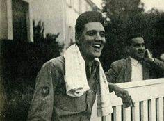 Laughing outside his Bad Nauheim home