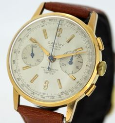 Currently at the #Catawiki auctions: Cauny - Vintage gold plated swiss manual winding chronograph wristwatch, Circ...