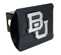 Baylor University Bears Black and Silver Chrome Trailer Hitch Cover is for the Baylor University or NCAA Baylor Bears sports fan and comes on a black background with large, silver Baylor University Bears mascot logo.