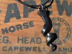 Spiral Horseshoe Nail Pendant  hot by LuckyNailBlacksmith on Etsy, $8.99