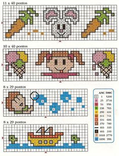 Gráficos de Ponto Cruz em PDF: Animais