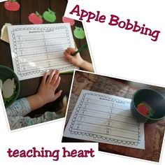 Free Bobbing for Apples Printable - Spelling or Sight Word Review.