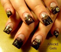 SteamPunk Nails by Anicke - Nail Art Gallery nailartgallery.nailsmag.com by Nails Magazine www.nailsmag.com #nailart