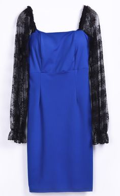 Royal Blue Contrast Lace Embroidery Sleeve Backless Dress US$32.60