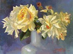 "Daily+Paintworks+-+""Yellow+Roses-+Study""+-+Original+Fine+Art+for+Sale+-+©+Tatsiana+Mikhailava"