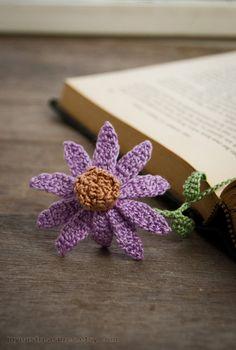 Handmade Crochet Bookmark Purple Cone Flower Echinacea