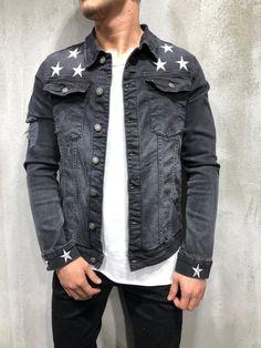 34d6d4ecd5d Trucker Denim Jacket Ripped Star Embroidery - Black