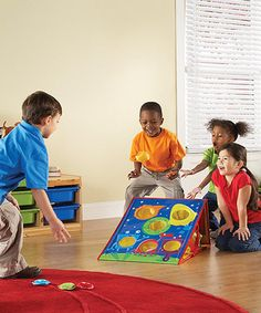 This 2008 Creative Child Seal of Excellence Award winning, bean-bag toss game brings fun and learning to the party or playroom in no time. It's an entertaining way to encourage physical activity and gross motor skills as little ones develop color recognition and early math practice.