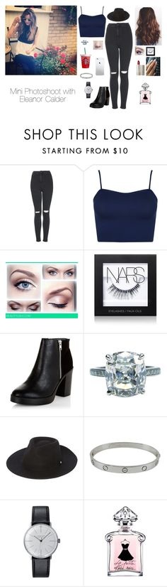 """Mini Photoshoot with Eleanor Calder"" by brenda-all-over ❤ liked on Polyvore featuring Topshop, WearAll, NARS Cosmetics, New Look, Ilia, Whistles, Cartier, Klein & more, cute and blackandgold"