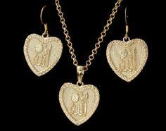 18K Gold Plated Allah Muslim Islam Necklace Earrings Jewelry Set Women Girls New
