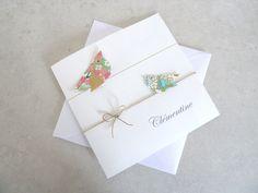 Faire part de naissance, baptême pour fille - carte double irisée, oiseaux en origami rose, vert, bleu en papier : Faire-part par papierelief