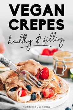 Our favorite vegan crêpes that are easy to make and super healthy! Naturally sugar-free, dairy-free, egg-free and oil-free, they are incredibly simple to make in a blender and non-stick pan (gluten-free option available!) and sure to impress any breakfast or brunch guests. Serve this French dessert make with almond milk either sweet or savory, adding fruit, nuts, chocolate or date caramel as well as vegan cream cheese or veggies. Delicious Vegan Recipes, Healthy Dessert Recipes, Vegan Desserts, Whole Food Recipes, Snack Recipes, Cooking Recipes, Vegan Sweets, Family Recipes, Kitchen Recipes