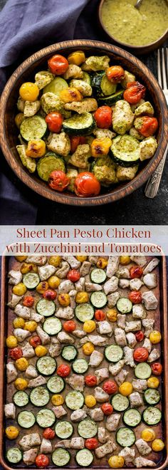 This Sheet Pan Pesto Chicken with Zucchini and Tomatoes couldn't be any easier to make! 4 ingredients and a sheet pan are all you need to make this simple and flavorful meal!
