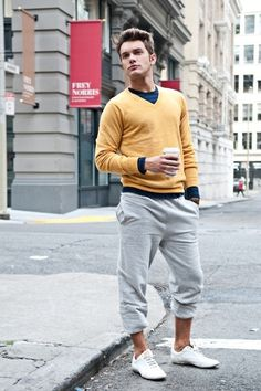 Relaxed look for men, love the way the mustard cardigan sets off the blue and…