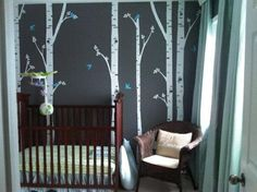 Birch trees nursery - one wall with a forest of birch, a fox, some birds, and squirrels.   Jeremy and I need to get on this!