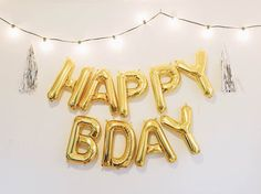 HAPPY BDAY letter balloons gold/silver foil por OhShinyPaperCo