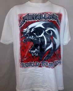 ba8946de7d4 Metallica Band Tee Size XL White Shirt Rock Music World Tour 2004   SilverMountain  GraphicTee