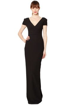 This dress has an elegant look I really like.  Brand/Designer: Raoul Material: Polyester /Rayon /Spandex Dress Silhouette: Sheath Shoulder: Short-Sleeves Neckline: V-Neck Embellishments: Bow(s) Available Colors: Black