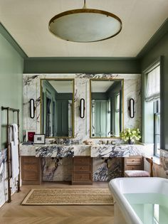 Inside a Colorful Manhattan Townhouse Where Brad Ford Perfectly Blends Old and New - 1stDibs Introspective Best Interior Design, Interior Design Inspiration, Bathroom Inspiration, Bathroom Ideas, Beautiful Bathrooms, Modern Bathroom, White Bathrooms, Bathroom Interior, Mid Century Shelves