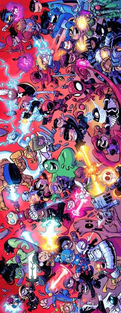 Giant-Size Little Marvel AvX #4 - quadruple page spread by Skottie Young