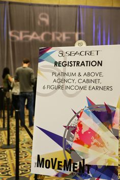 Registration and signage from the March 2015 SEACRET Direct convention Movement. #SEACRETmovement