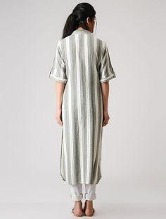 Grey-White Striped Cotton Kurta Akita, Salwar Suits, Grey And White, Kimono, Short Sleeve Dresses, Tunic, Stripes, Shirt Dress, Kurtis