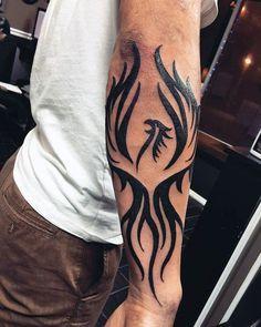 Masculine Mens Full Forearm Black Ink Tribal Phoenix Tattoos