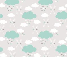 Sweet soft little indian baby dream sleepy night clouds love hearts and indian arrows scandinavian pastel illustration pattern in mint fabric by littlesmilemakers on Spoonflower - custom fabric