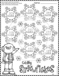 Winter Addition with Regrouping Color-by-Code Printables Math Practice Worksheets, School Worksheets, Math Activities, Teaching Resources, 2nd Grade Math, Second Grade, Fourth Grade, Math Numbers, Elementary Math