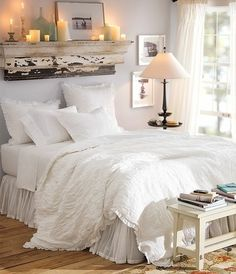 Love the shelf over the bed!!