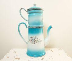 Vintage french enamel Coffee pot Blue Enamelware by 5LittleCups