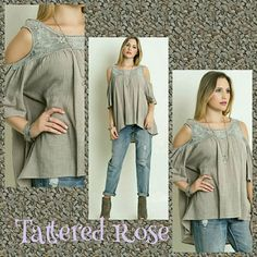 """☕Mocha Crochet Tunic ☕Beautiful Mocha colored semi sheer crochet tunic. Just love the """"cold shoulder"""" look! Great for all arm types! With this flowy blouse you'll feel beautiful all the time. Dress up with your favorite slacks or just their on with a great pair of jeans.Sewn with love! Tops Tunics"""
