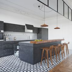 A modern and stylish apartment of square feet was transformed by Nordes Design for a young family located in the village of Borovliany, Belarus. Home Kitchens, Stylish Apartment, Kitchen Remodel, Kitchen Inspirations, Kitchen Flooring, Kitchen Decor, Modern Kitchen, Kitchen Interior, Interior Design Kitchen