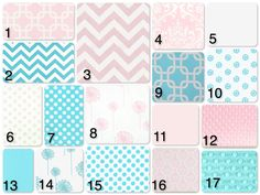 Custom Crib Bedding Aqua and Pink by DandelionBabyblanket on Etsy, $238.00
