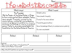 Here's a page for students to use while learning about the Constitution.
