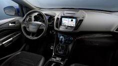 Ford Kuga interior, steering wheel, front seats, automatic gearbox, centre console with SYNC 3