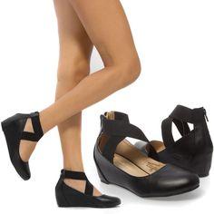 Women Black X Strap Med Low Hidden Wedge Heel Ballerina Ballet Flat Pump US 8 #ChaseChloe #PlatformsWedges