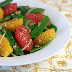 Snow Pea, Grapefruit & Orange Salad. Crisp, fresh, nutritious and delicious. | from The Yummy Life