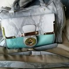 Beautiful purse Beautiful purse smoke, light grey and teal with snake skin pattern with shoulder strap Bags Hobos