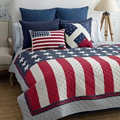 Tommy Hilfiger American Flag Twin Quilt Red White Blue Star Stripes